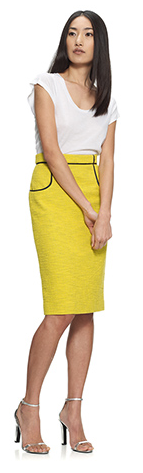 whistles yellow pencil skirt