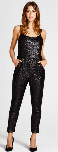 Black Glitter Jumpsuit