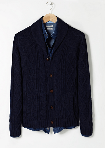 Mango Navy Shawl Cardigan