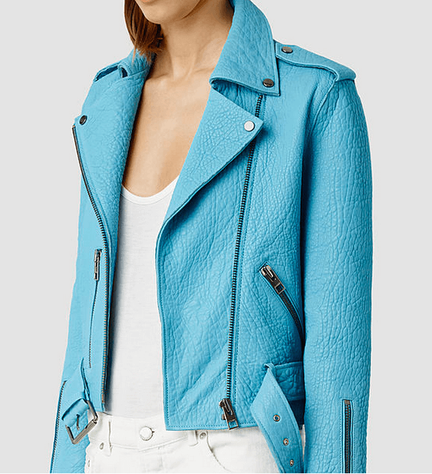 Blue All Saints Leather Jacket
