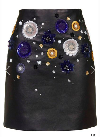 Embellished Leather Skirt