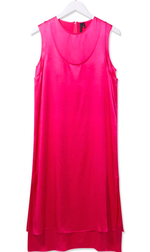 Pink Satin Double Wrap Dress