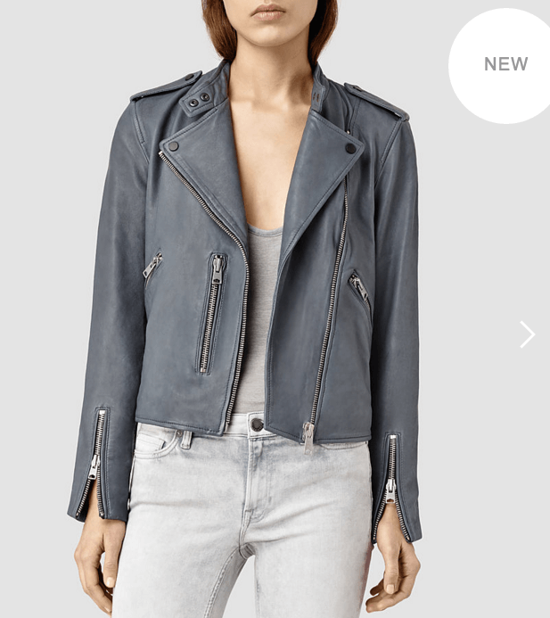 Slate Blue Leather Biker Jacket