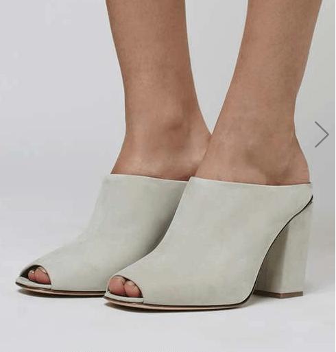 Cream Leather Mules
