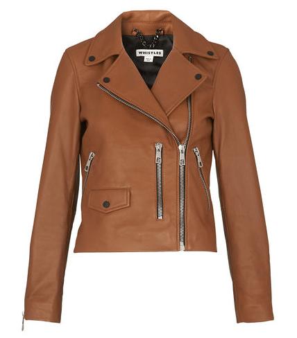 Whistles Brown Biker Jacket