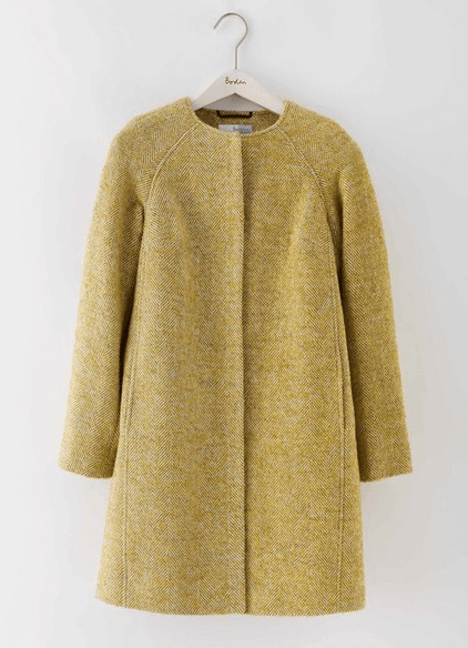 Boden Yellow Tweed Coat