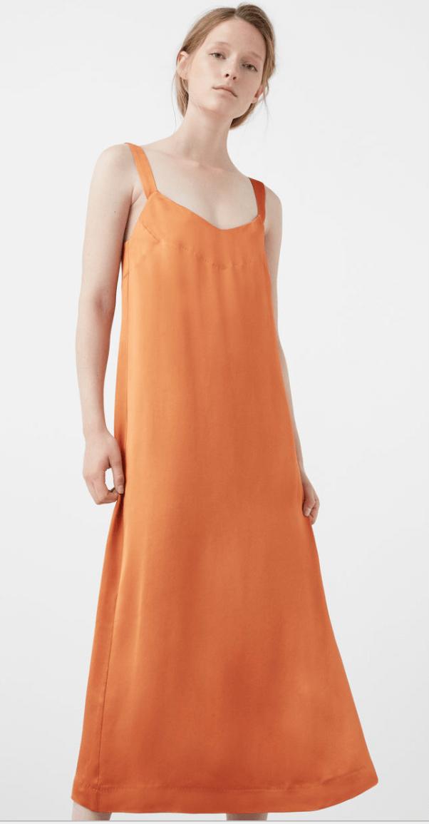 Orange Satin Dress