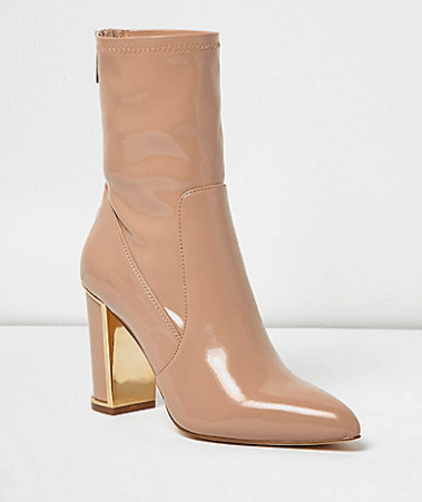Nude Pointed Ankle Boot