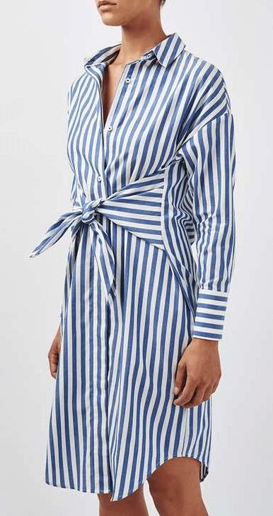 Knotted Stripe Shirt Dress