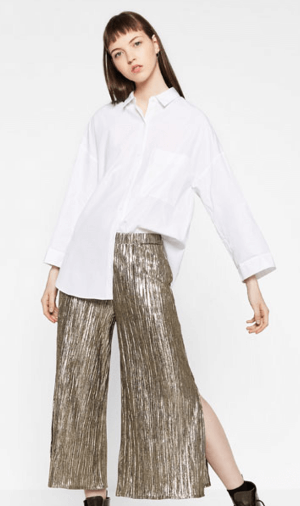 ZARA silver pleated trousers
