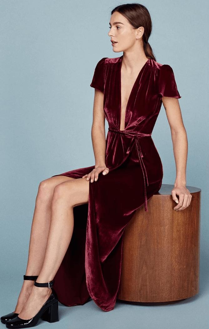 Reformation Velvet Dress