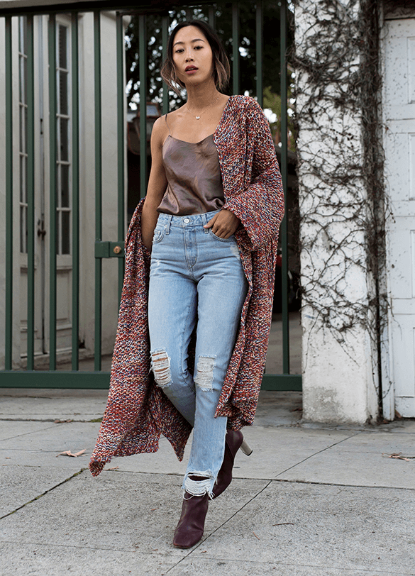 Long cardi and silk cami