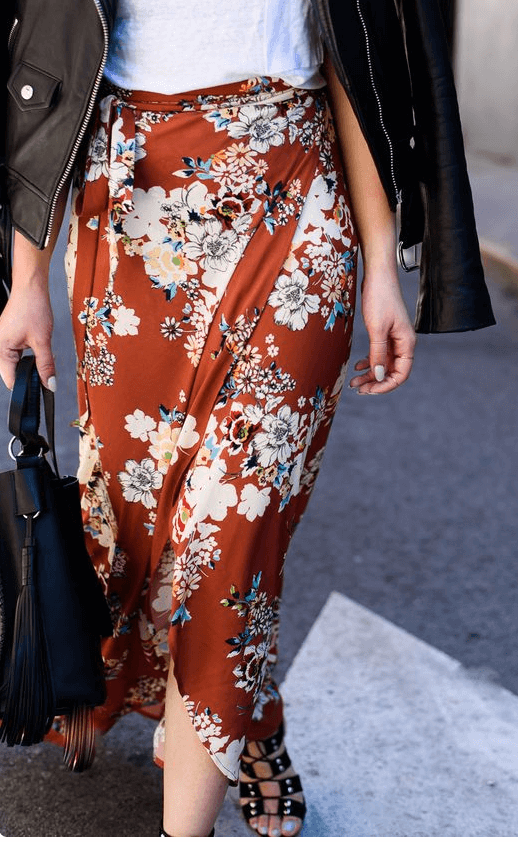 Floral satin skirt with biker jacket