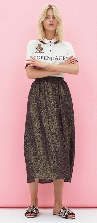 Samsoe gold glitter skirt