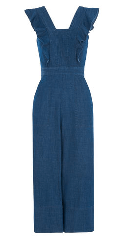 Denim frill jumpsuit