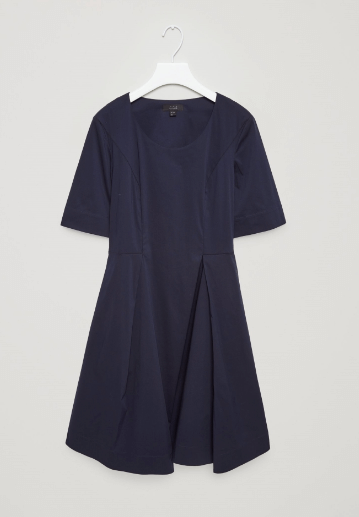 navy pleated skirt dress