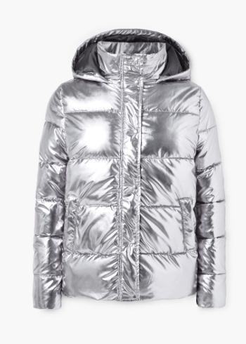 Mango silver puffa jacket