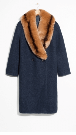 Navy coat faux fur collar