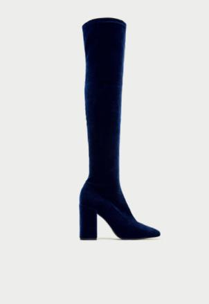 Zara velvet boots