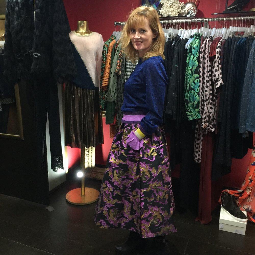 Lisa in sparkly skirt