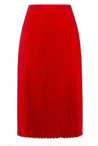 Red satin pleated midi skirt | Whistles