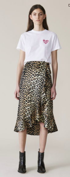 Leopard print ruffle skirt | Ganni