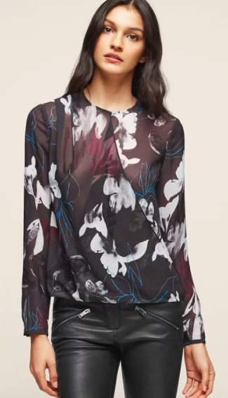 Draped chiffon top | Reiss