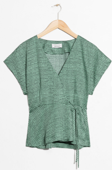 &Other Stories green satin wrap blouse