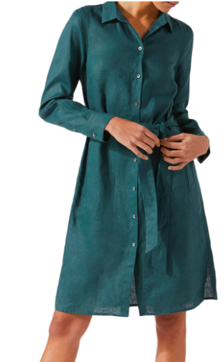 Jigsaw peacock green linen shirt dress