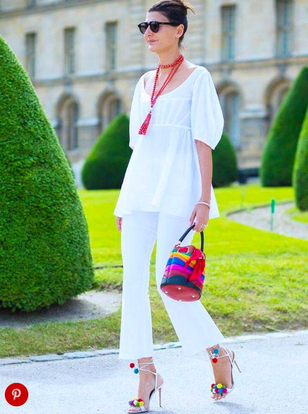 Love the pom pom shoes and colourful bag with this outfit