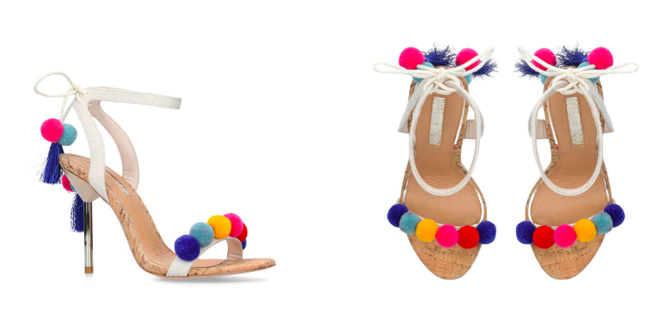 More of an evening option for summer with slightly looser boyfriend fit white jeans.  These Kurt Geiger pom pom shoes are a fun option if you can do heels this high!