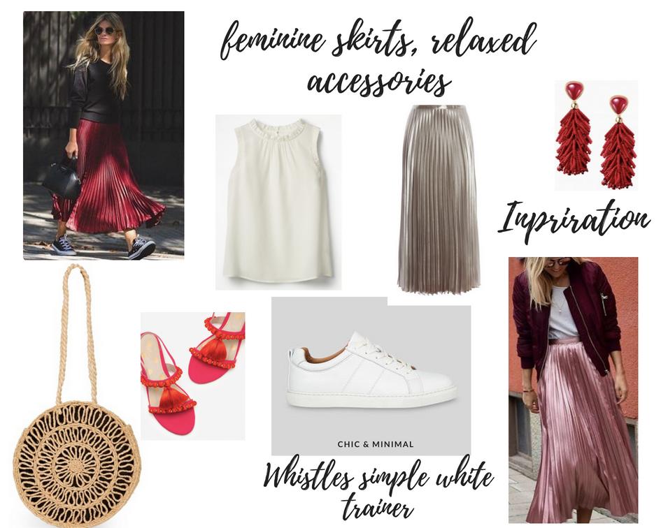 Raffia Bag | Boden pom pom shoes | Karen Millen gold skirt | Whistles trainers  | Boden ivory top .