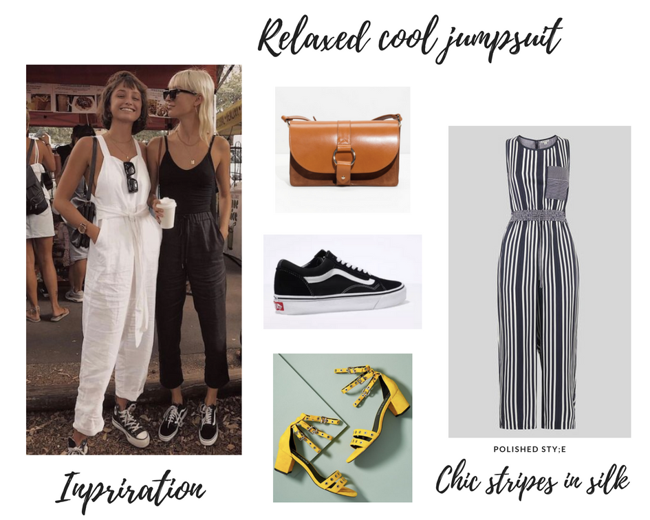 Camel bag  |  Vans  |  Strappy Shoes  |  Silk Jumpsuit
