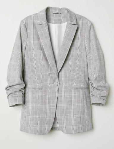 Checked blazer with ruched sleeves | H&M