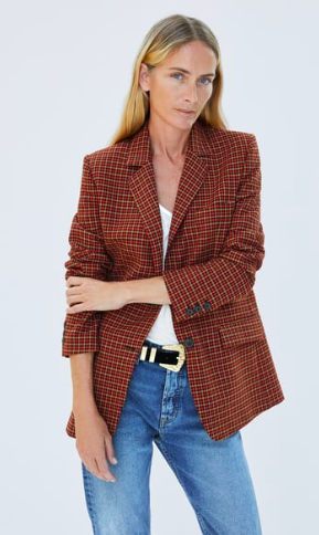 Masculine check blazer at Zara . Great with jeans and also over a feminine dress.