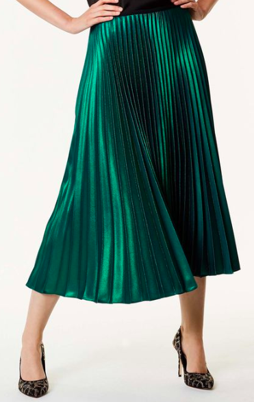 Green metallic pleated midi skirt from Karen Millen . The pleated midi remains ever popular this season.