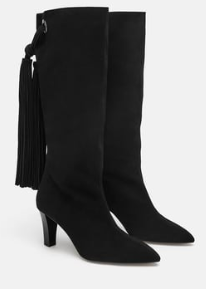 Zara black suede  fringed boots in leather.