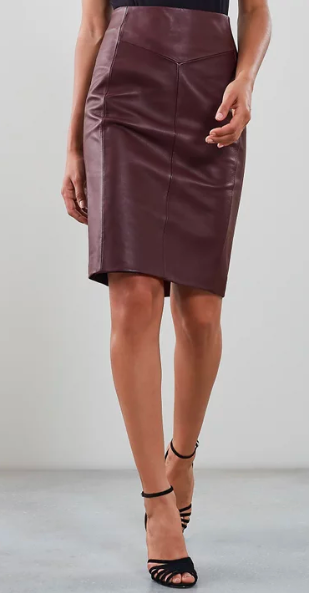 Reiss oxblood leather pencil skirt