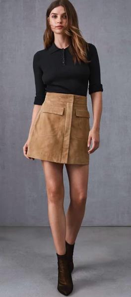 Reiss brown suede mini skirt