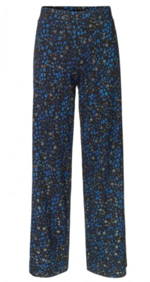 Stine Goya - Blue glittery abstract flower trousers.
