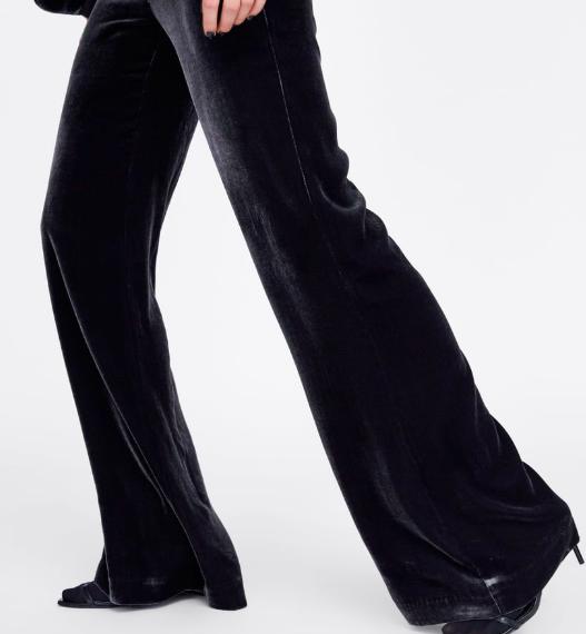 Zara dark grey velvet wide legged trousers