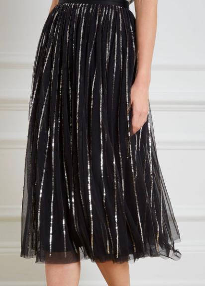 Needle & Thread silver sequin tulle skirt