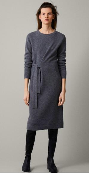Massimo Dutti, cashmere tied wool dress