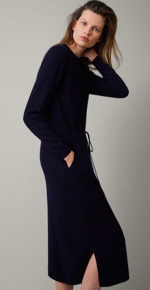 Massimo Dutti drawstring navy wool dress