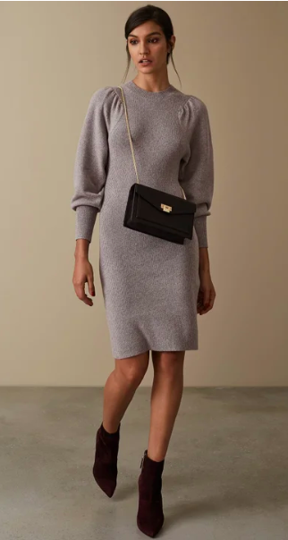 Reiss balloon sleeve wool dress