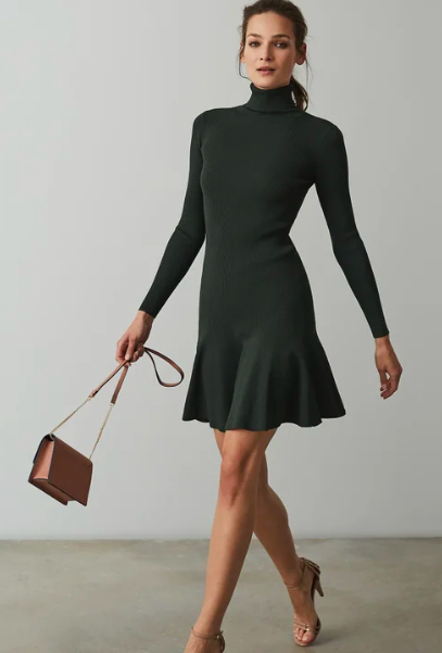 Dark green peplum knitted dress