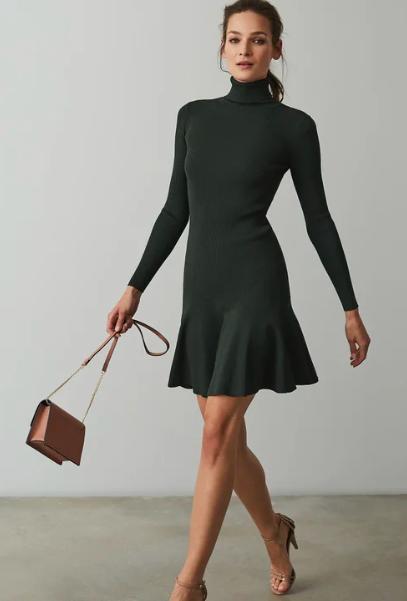 Dark green peplum knitted dress