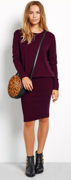 Hush burgandy knitted dress