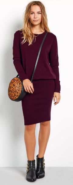 Hush burgandy knitted dress