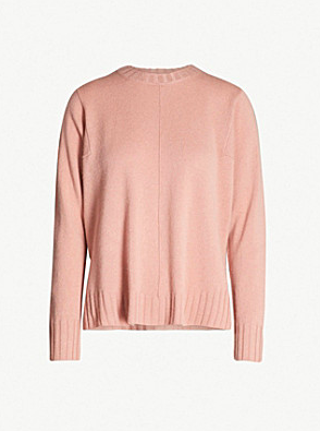 Soft pink round neck cashmere from Whistles. £119 down from £165 at Selfridges.